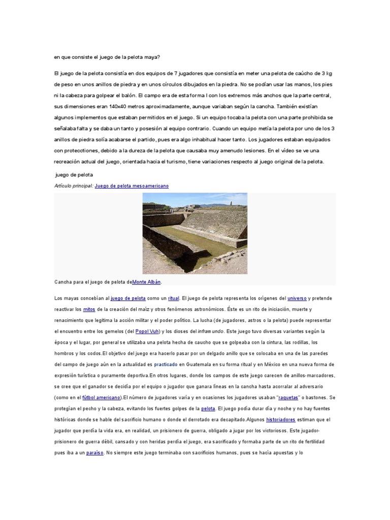 En Que Consiste El Juego De La Pelota Maya Mesoamérica Rituales
