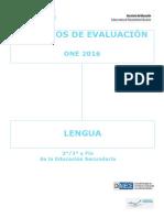 Criterios de Evaluación ONE 2016 Lengua Educación Secundaria