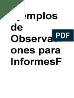 Ejemplos de Observaciones Para InformesFelicitaciones