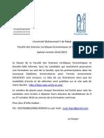 Diplome Universitaire- Rentre 2014 2015