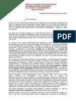 Carta Abierta a Los Directivos de Escuelas