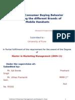 Study of Consumer Buying Behavior regarding the different Brands of Mobile Handsets