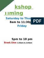 Bookshop Timing
