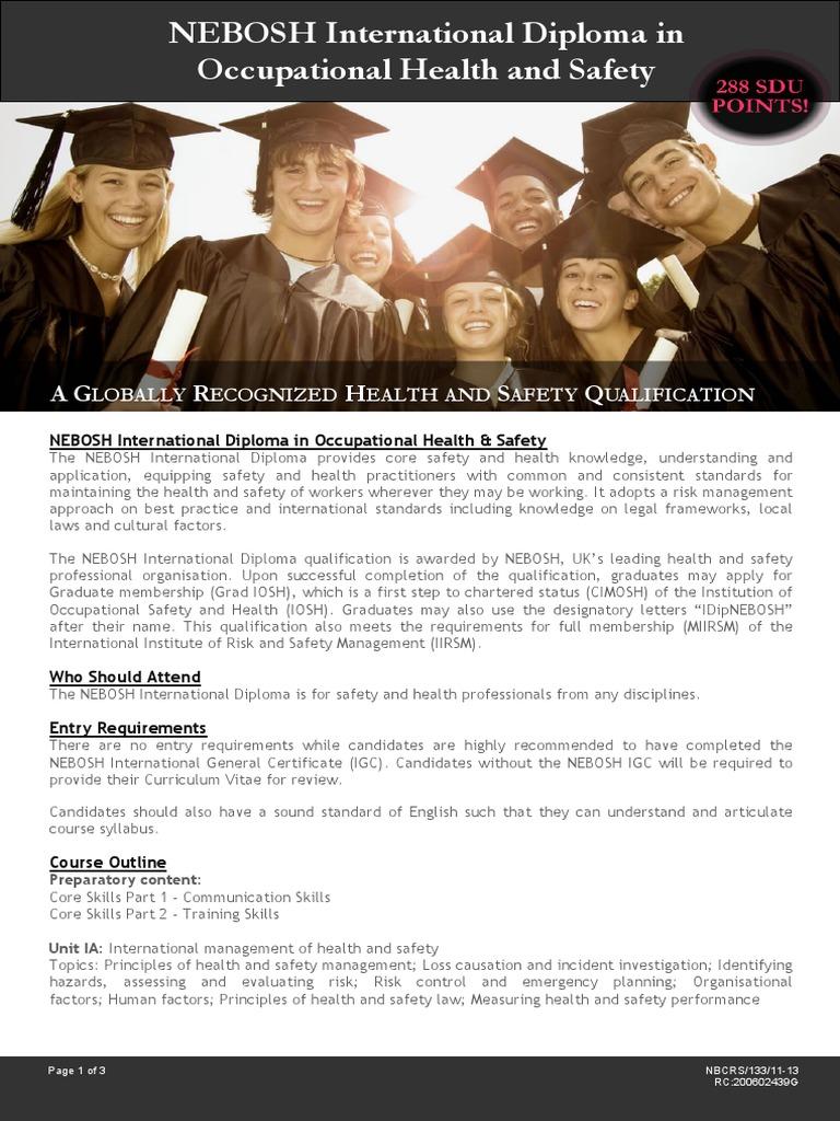 133 NEBOSH International Diploma In OSH