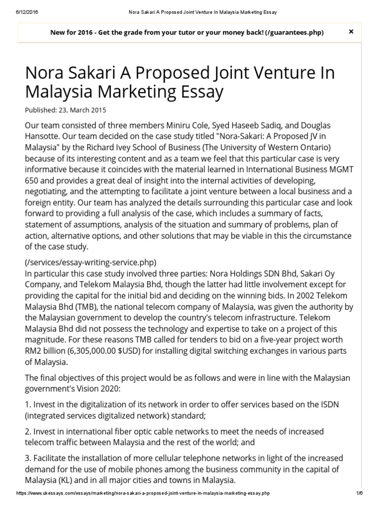 nora sakari a proposed joint venture in marketing essay  nora sakari a proposed joint venture in marketing essay negotiation joint venture
