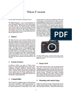 Nikon F Mount | Camera Lens | Recording Devices