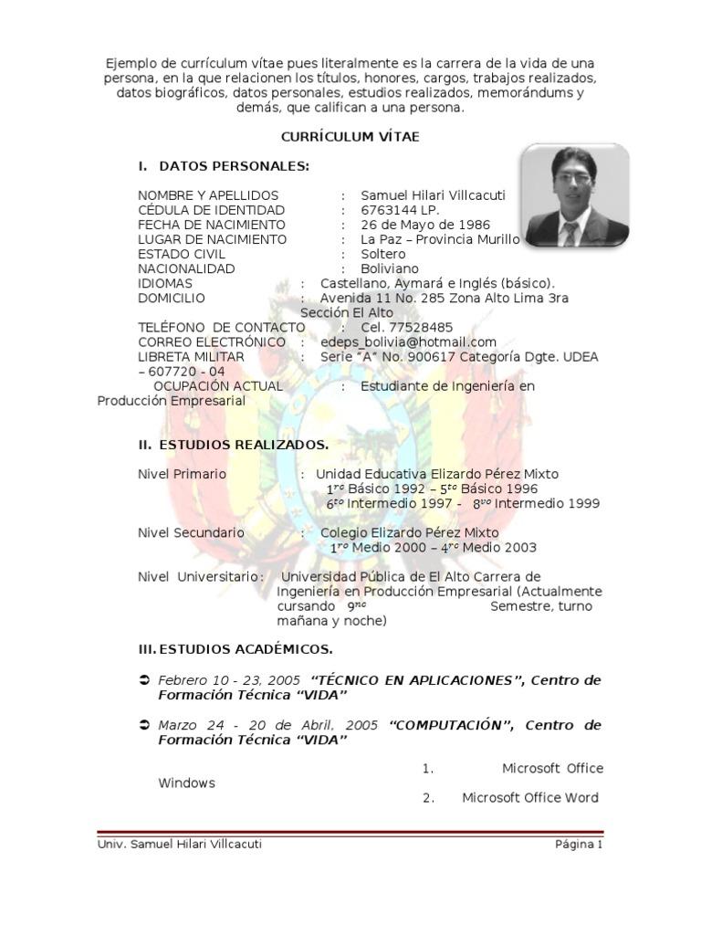 Modelo De Curriculum Vitae Bolivia - Modelo De Curriculum Vitae