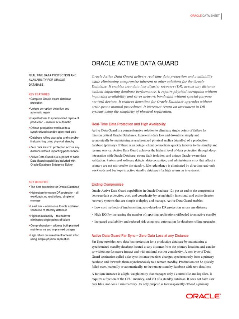 Active Data Guard Ds 12c 1898869 | Replication (Computing