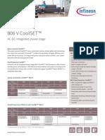 Infineon-Product Brief 800V CoolSET Integrated Powerstage-PB-V01 00-En