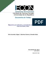 Migración Por Imitación y Crecimiento Económico. Caso de Chile y Perú