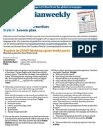 Lower intermediate lesson plan (February)