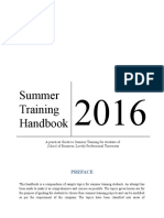 Summer Training Handbook 2016