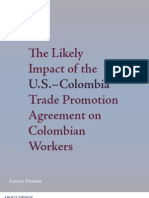 The Likely Impact of the U.S. - Colombia Trade Promotion Agreement on Colombian Workers