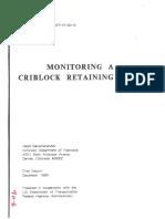 Monitoring a Criblock Retaining Wall