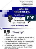 RELATIONSHIPS - Social Psychology 222 - Slide Show