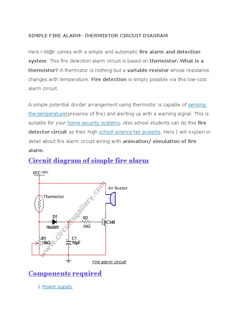 Simple Fire Alarm Circuit Diagram Schematic Diagrams Electrical Resistance And Conductance Resistor Romex
