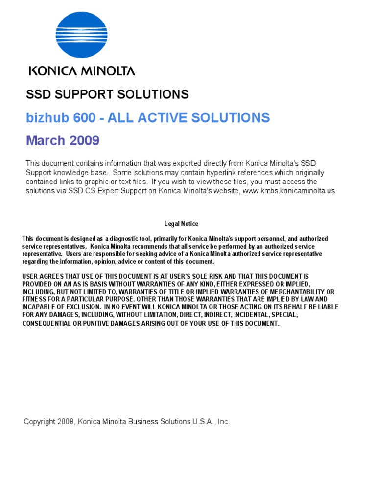 Bizhub 600 - All Active Solutions | Portable Document Format | Proxy Server