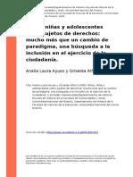 Analia Laura Ayuso y Griselda Alfaro (2005). Ninos, Ninas y Adolescentes Como Sujetos de Derechos Mucho Mas Que Un Cambio de Paradigma, u (..)