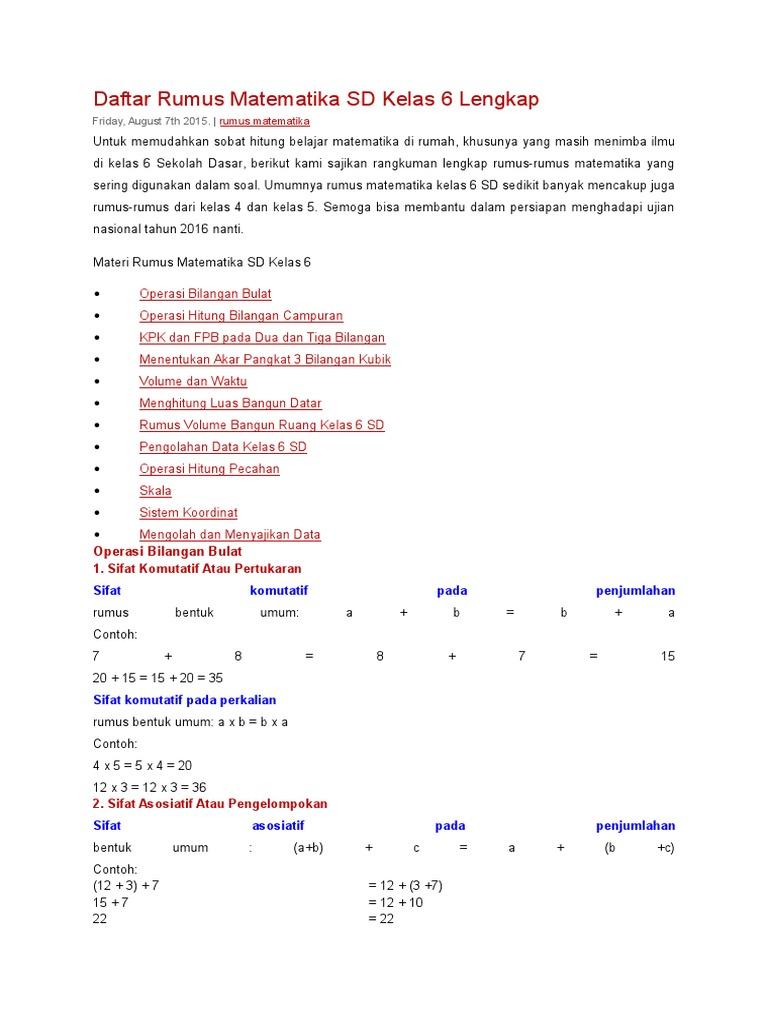 Daftar Rumus Matematika Sd Kelas 6 Lengkap