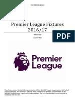 Premier League Fixture List 2016-17