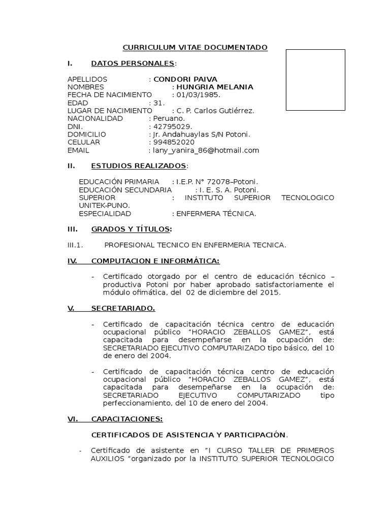Curriculum Vitae Documentado Docx