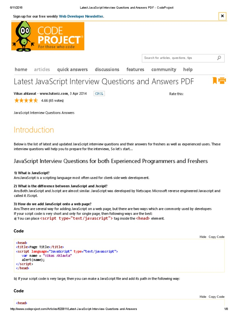 JavaScript Interview Questions and Answers PDF - CodeProject | Java