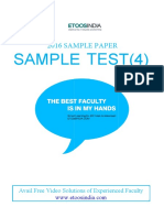 Etoosindia.com Jee Main 2016 Mock Test Set F