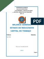 Balance General y Capital de trabajo
