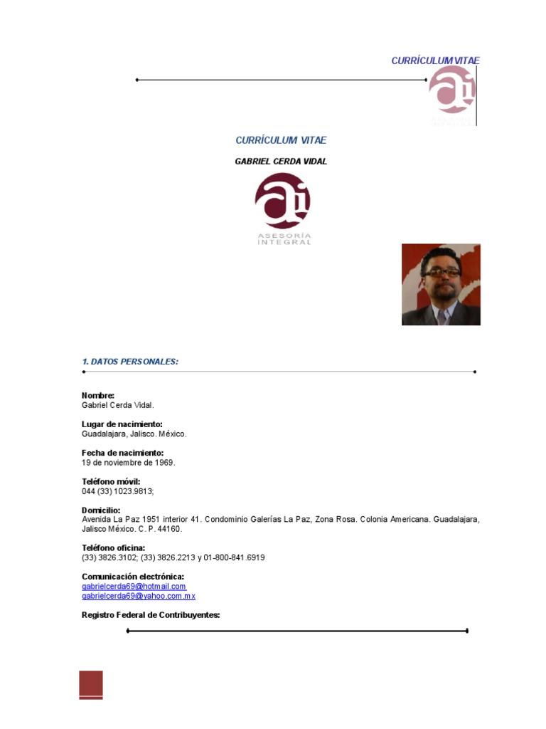 Currículum Gabriel Cerda Vidal. Noviembre 2015