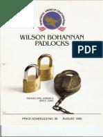 Wilson Bohannan Padlock Catalog 1993
