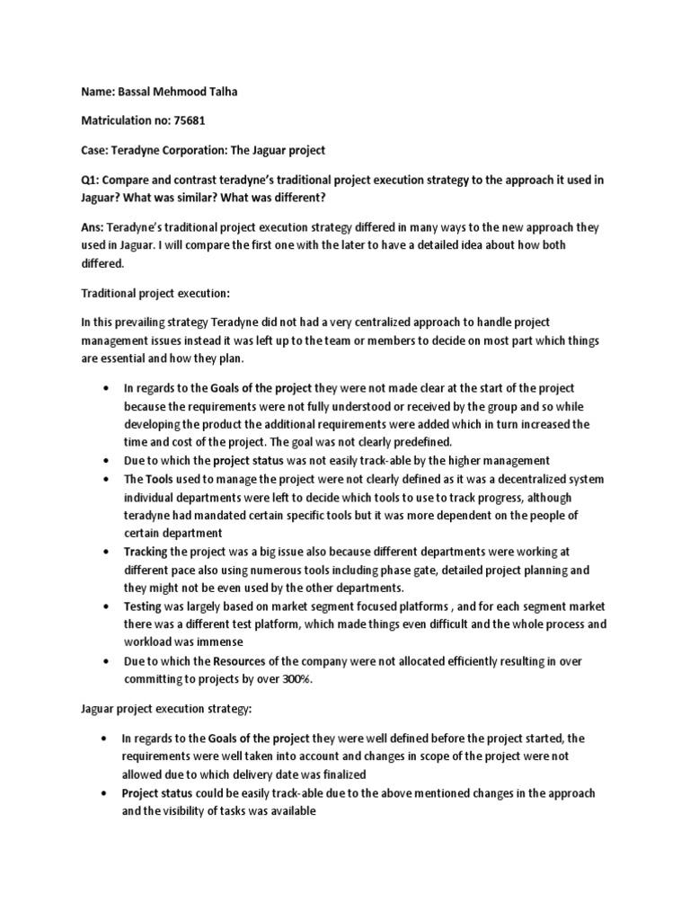 teradyne corporation the jaguar project analysis