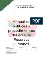 Manual de Políticas y Procedimientos Del Área de Recursos Humanos
