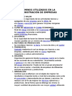 Términos Utilizados en La Administración de Empresas