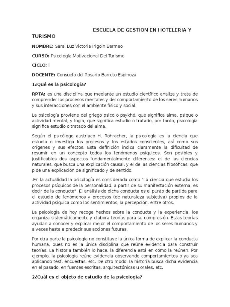 Psicologia Motivacional Del Turismo Turismo Sicología Y