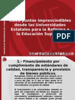 Cinco Puntos Fundamentales Universidades Estatales CUECH.