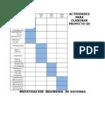 Actividades Para Elaborar Proyecto de Investigación Ingeniería de Sistemas