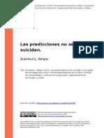 Aramburu, Sergio. Las Predicciones No Se Suicidan