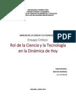 Ensayo Crítico - Rol de La Ciencia y La Tecnología en La Dinámica de Hoy