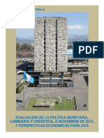 Banco de Guatemala- Política Monetaria a Nov 2015 y Perspectivas 2016