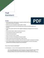 F&B Assistant Steward