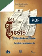 Las Tesis Universitarias en México Una Tradición y Un Patrimonio en Vilo Pre