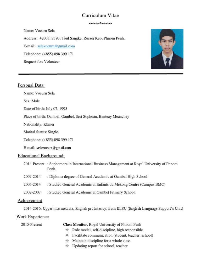 Curriculum Vitae 1 234567 Pdf Cambodia Association Of Southeast
