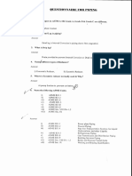 Questionnaire for Piping