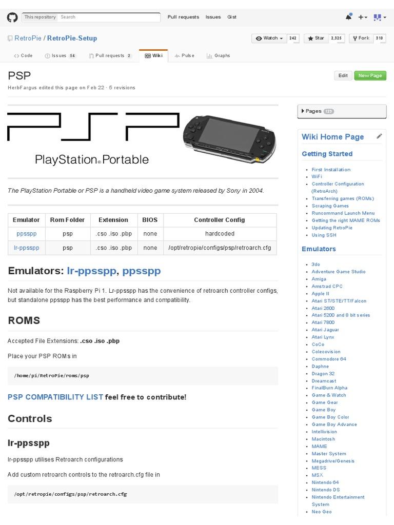 PSP · RetroPie_RetroPie-Setup Wiki | Raspberry Pi | Play Station