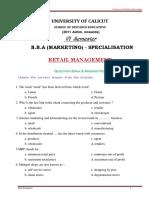 BBA - Retail Management