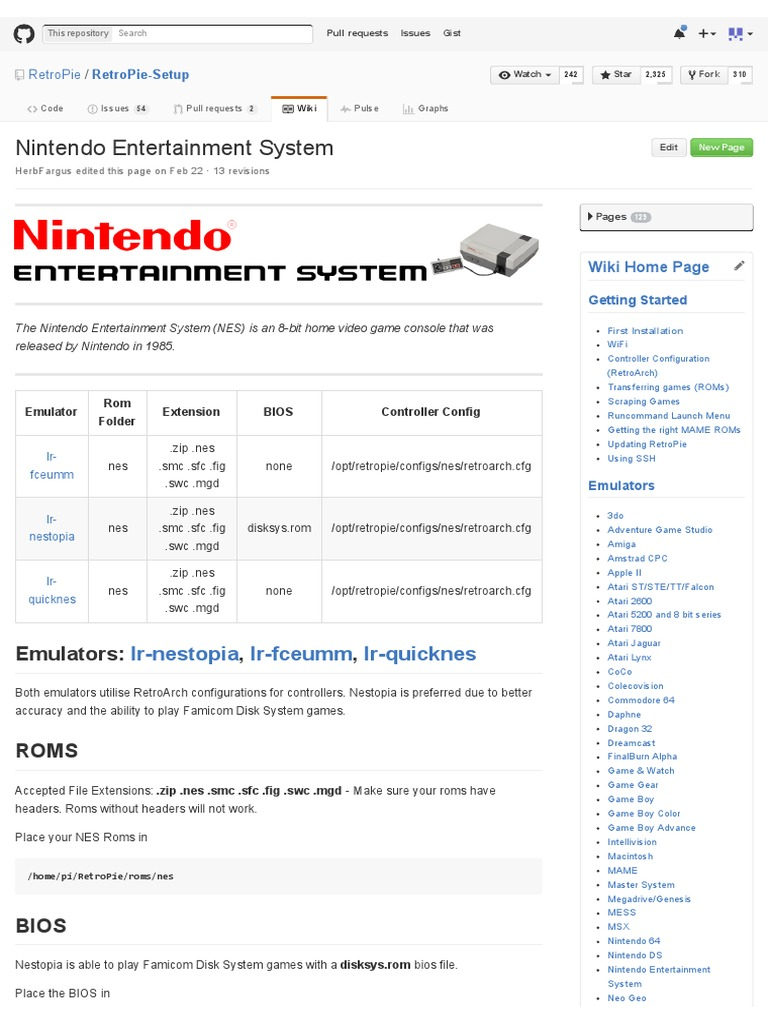 Nintendo Entertainment System · RetroPie_RetroPie-Setup Wiki