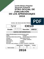 Registro Auxiliar de Evaluacion Primaria 2016