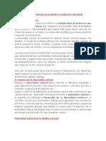 Diversidad Cultural en La Familia e Institución Educativa