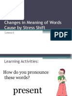 Changes in Meaning of Words Caused by Stress Shift