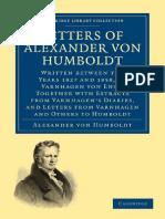 [Alexander Von Humboldt] Letters of Alexander Von Humboldt